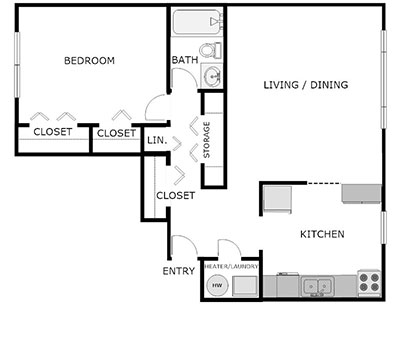 1 bed, 1 bath floorplan