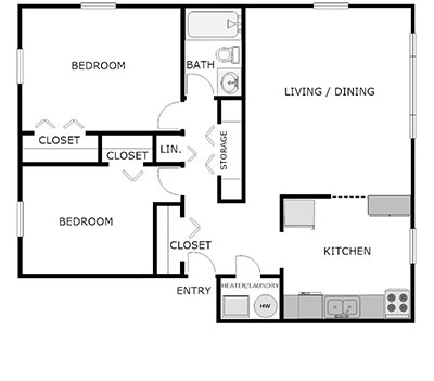 2 bed, 1 bath floorplan
